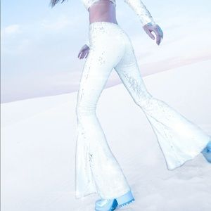Club Exx Dolls Kill white sequin bell bottoms (S)